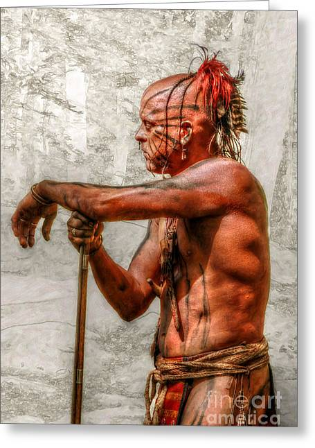 Woodland Indians Greeting Cards - Indian Warrior Eve of Battle Greeting Card by Randy Steele
