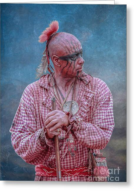Woodland Indians Greeting Cards - Indian Warrior in Trade Shirt Greeting Card by Randy Steele