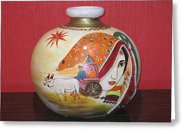 Best Sellers -  - White Ceramics Greeting Cards - Indian Greeting Card by Xafira Mendonsa