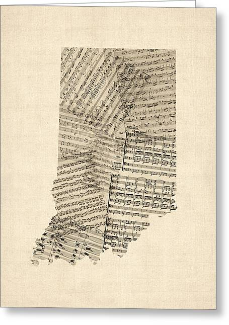 Indiana Map, Old Sheet Music Map Greeting Card by Michael Tompsett