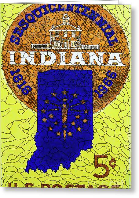 Indiana Statehood 1966 U.s. Stamp Greeting Card by Lanjee Chee