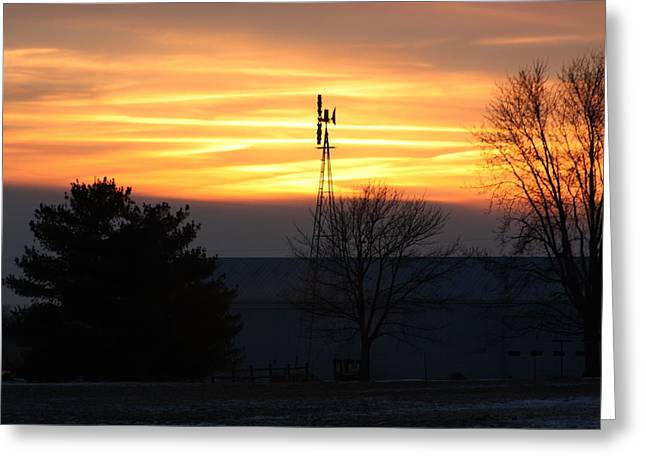 Indiana Winters Mixed Media Greeting Cards - Indiana Sunset Greeting Card by Bruce McEntyre