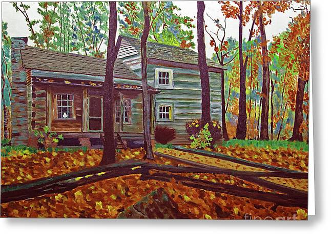 Indiana Autumn Greeting Cards - Indiana Uplands Log Cabin Greeting Card by Rich Walter