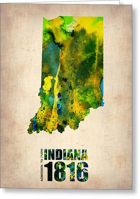 Maps. State Map Greeting Cards - Indiana Watercolor Map Greeting Card by Naxart Studio