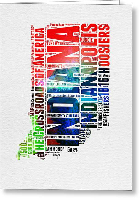 Indiana Watercolor Word Cloud Map  Greeting Card by Naxart Studio