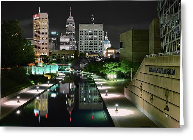 Downtown Indiana Greeting Cards - Indianapolis Canal Night View Greeting Card by Frozen in Time Fine Art Photography