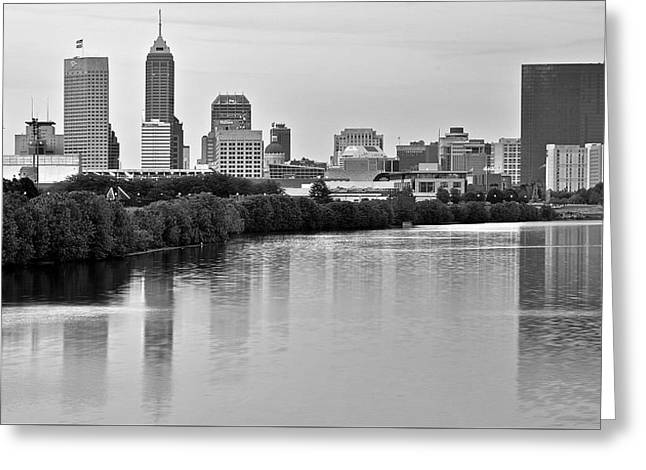 Andrew Luck Greeting Cards - Indianapolis Charcoal Panoramic Greeting Card by Frozen in Time Fine Art Photography