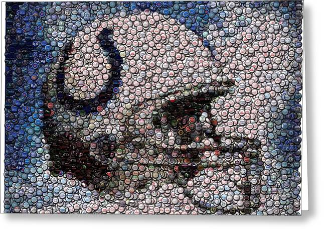 Bottle Cap Greeting Cards - Indianapolis Colts Bottle Cap Mosaic Greeting Card by Paul Van Scott