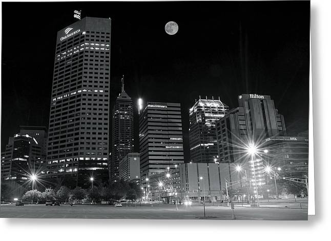Light And Dark Greeting Cards - Indianapolis Downtown Black and White Greeting Card by Frozen in Time Fine Art Photography