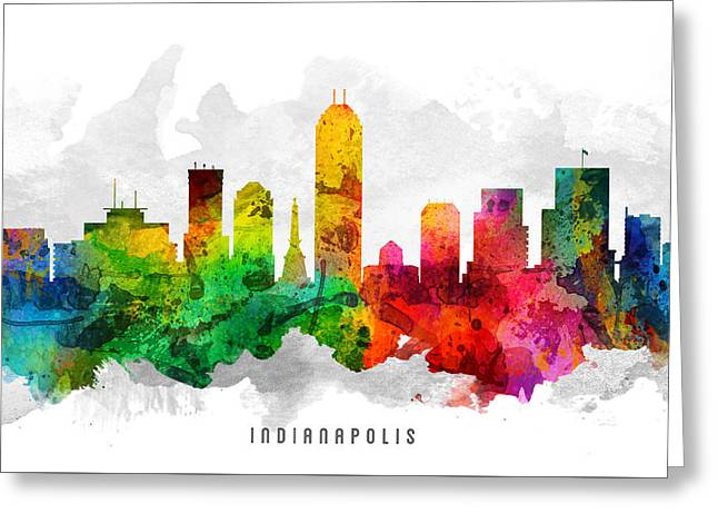 High Rise Greeting Cards - Indianapolis Indiana Cityscape 12 Greeting Card by Aged Pixel
