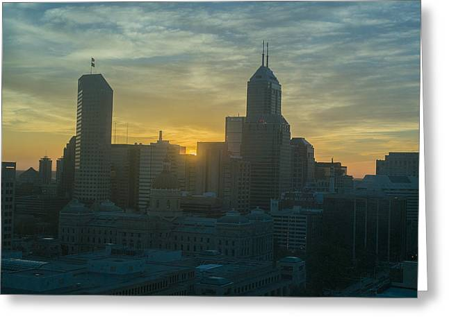 Monument Circle Greeting Cards - Indianapolis Indiana Skyline 19Fa Greeting Card by David Haskett