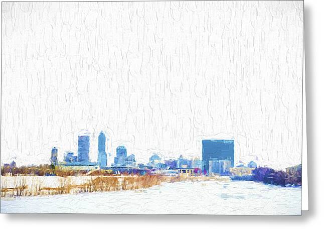 Monument Circle Greeting Cards - Indianapolis Indiana Skyline Creative Blue Greeting Card by David Haskett