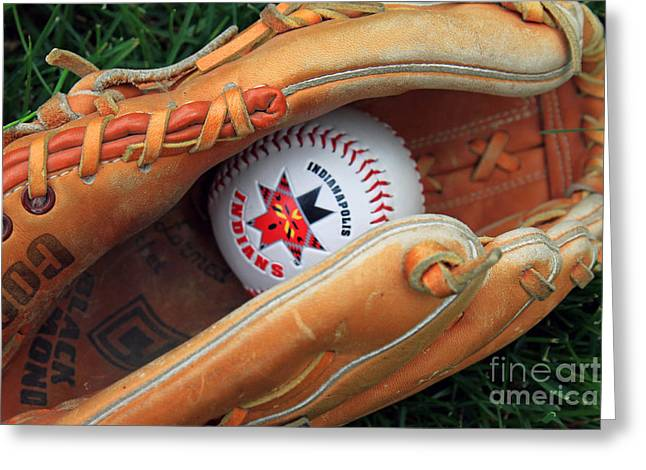 Baseball Glove Greeting Cards - Indianapolis Indians baseball Greeting Card by Steve  Gass