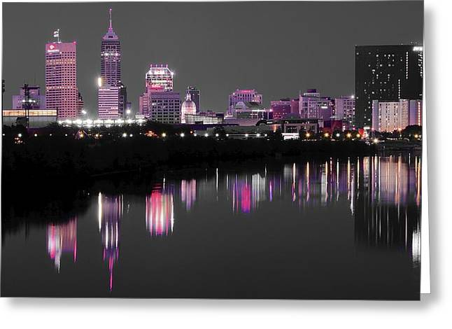 White River Greeting Cards - Indianapolis Lights up Nicely Greeting Card by Frozen in Time Fine Art Photography