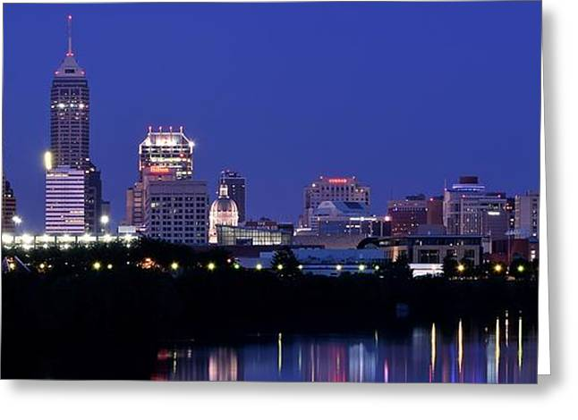 City Buildings Greeting Cards - Indianapolis Panorama Greeting Card by Frozen in Time Fine Art Photography