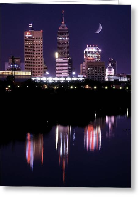 White River Greeting Cards - Indianapolis Quarter Moon Night Greeting Card by Frozen in Time Fine Art Photography
