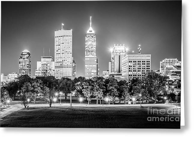 Indiana Photography Greeting Cards - Indianapolis Skyline Black and White Picture Greeting Card by Paul Velgos