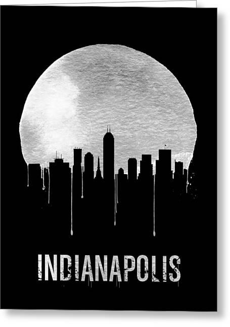 Indianapolis Skyline Black Greeting Card by Naxart Studio