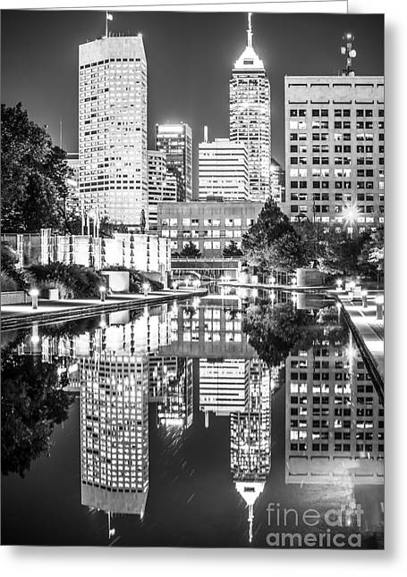 Indiana Photography Greeting Cards - Indianapolis Skyline Central Canal Black and White Photo Greeting Card by Paul Velgos