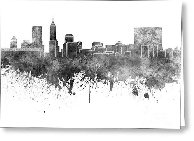 Indiana Paintings Greeting Cards - Indianapolis skyline in black watercolor on white background Greeting Card by Pablo Romero