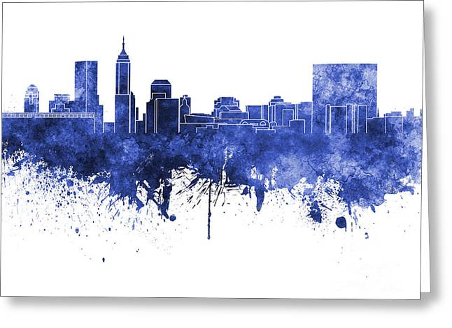 Indiana Art Paintings Greeting Cards - Indianapolis skyline in blue watercolor on white background Greeting Card by Pablo Romero
