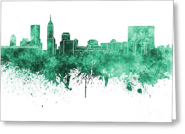 Indiana Art Paintings Greeting Cards - Indianapolis skyline in green watercolor on white background Greeting Card by Pablo Romero
