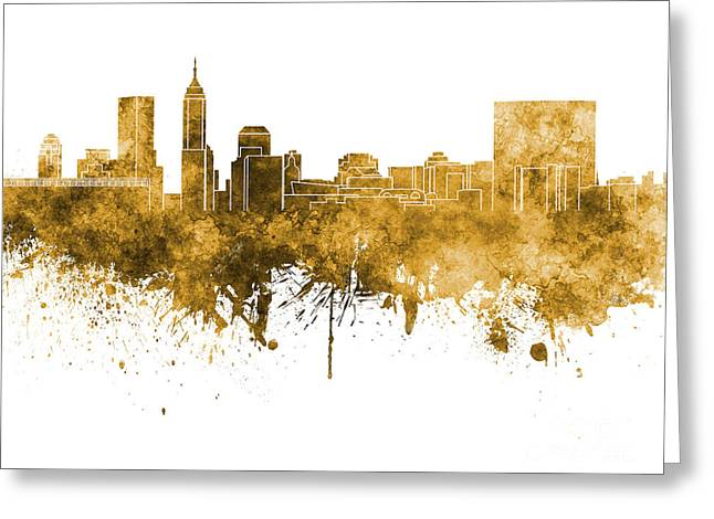 Indiana Art Paintings Greeting Cards - Indianapolis skyline in orange watercolor on white background Greeting Card by Pablo Romero
