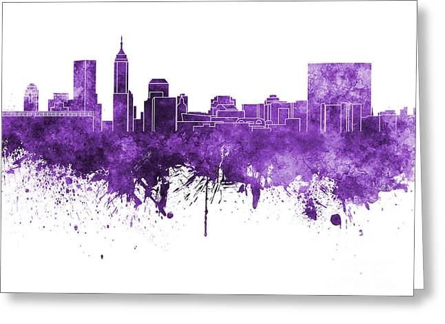Indiana Art Paintings Greeting Cards - Indianapolis skyline in purple watercolor on white background Greeting Card by Pablo Romero