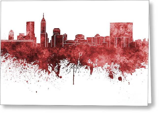 Indiana Paintings Greeting Cards - Indianapolis skyline in red watercolor on white background Greeting Card by Pablo Romero