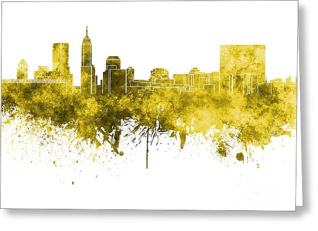 Indiana Art Paintings Greeting Cards - Indianapolis skyline in yellow watercolor on white background Greeting Card by Pablo Romero