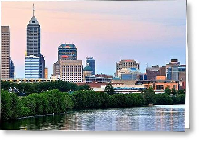Downtown Indiana Greeting Cards - Indianapolis Wide Angle Greeting Card by Frozen in Time Fine Art Photography