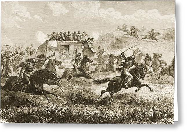 Dangerous Drawings Greeting Cards - Indians Attacking Coach Carrying Us Greeting Card by Ken Welsh