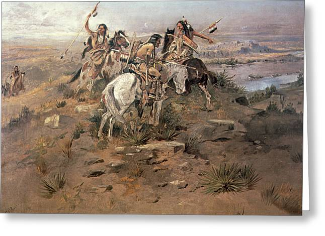 Indians Discovering Lewis And Clark Greeting Card by Charles Marion Russell
