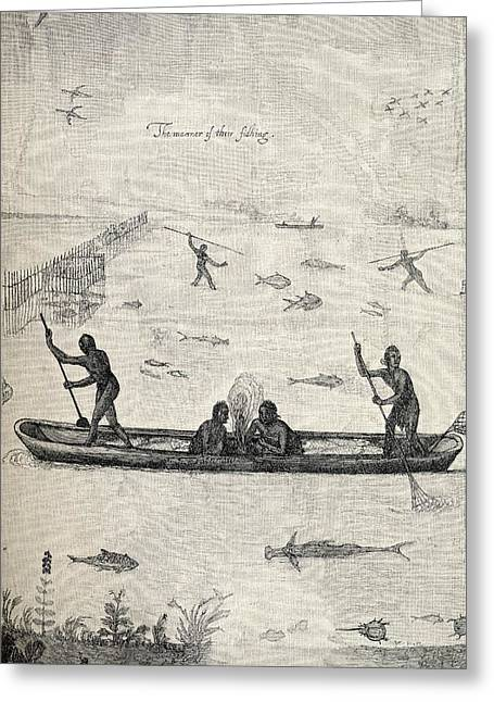 Canoe Drawings Greeting Cards - Indians Fishing Engraving From The Greeting Card by Ken Welsh