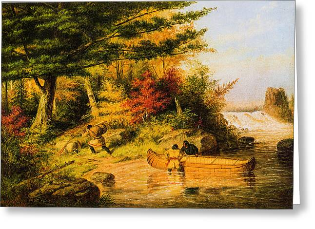Schooner Greeting Cards - Indians Portaging Furs 1858 Greeting Card by Cornelius Krieghoff