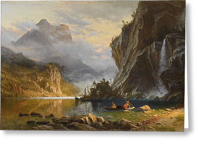 Canoe Paintings Greeting Cards - Indians  Spear  Fishing Greeting Card by  Albert  Bierstadt