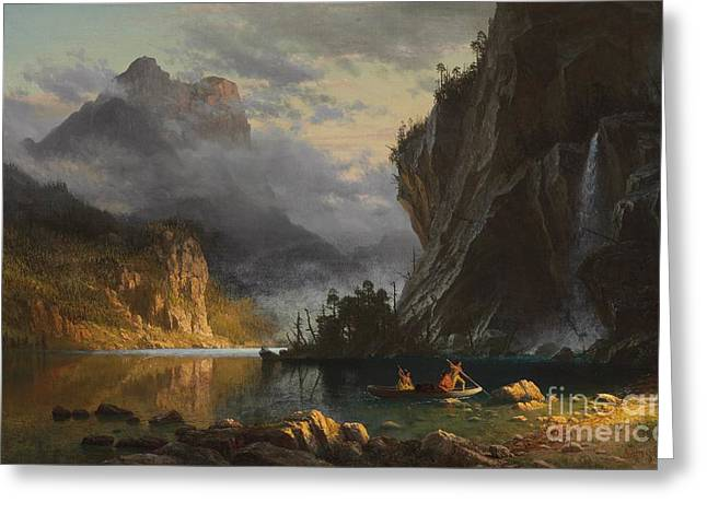 Cliffs Paintings Greeting Cards - Indians spear fishing Greeting Card by Albert Bierstadt
