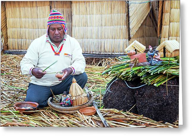Indigenous Guide On Uros Islands Greeting Card by Jess Kraft