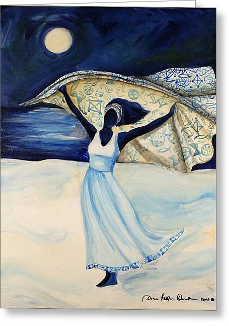 African-american Paintings Greeting Cards - Indigo Beach Greeting Card by Diane Britton Dunham