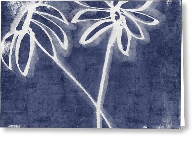 Indigo Floral 2- Art By Linda Woods Greeting Card by Linda Woods