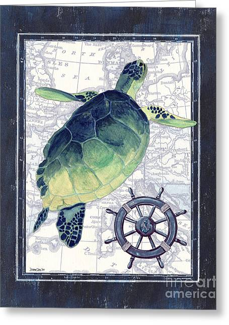 Ocean Turtle Paintings Greeting Cards - Indigo Maritime 1 Greeting Card by Debbie DeWitt