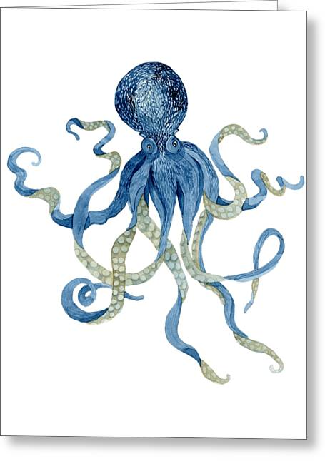 T Shirts Greeting Cards - Indigo Ocean Blue Octopus  Greeting Card by Audrey Jeanne Roberts