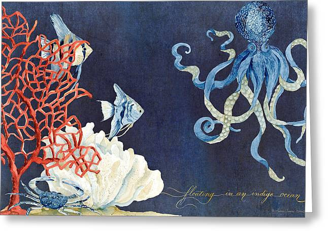 Octopus Greeting Cards - Indigo Ocean - Floating Octopus Greeting Card by Audrey Jeanne Roberts
