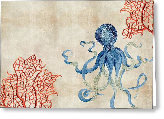 Spa Artwork Greeting Cards - Indigo Ocean - Octopus Floating Amid Red Fan Coral Greeting Card by Audrey Jeanne Roberts