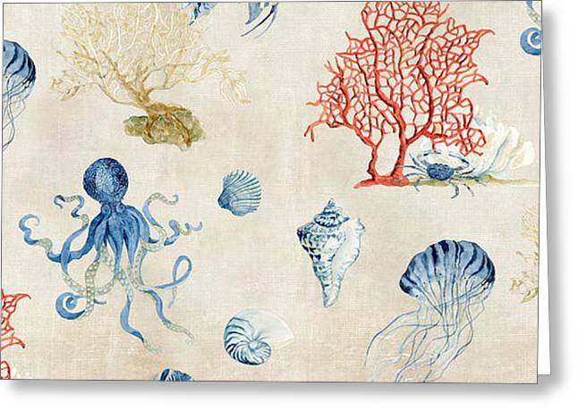 Jelly Fish Paintings Greeting Cards - Indigo Ocean - Red Coral Octopus Half Drop Pattern Greeting Card by Audrey Jeanne Roberts