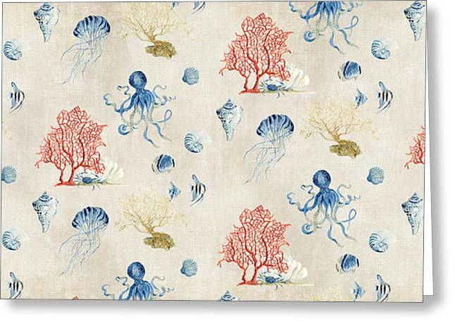Indigo Ocean - Red Coral Octopus Half Drop Pattern Small Greeting Card by Audrey Jeanne Roberts
