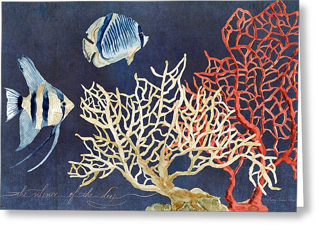 Decorative Fish Greeting Cards - Indigo Ocean - Silence of the Deep Greeting Card by Audrey Jeanne Roberts