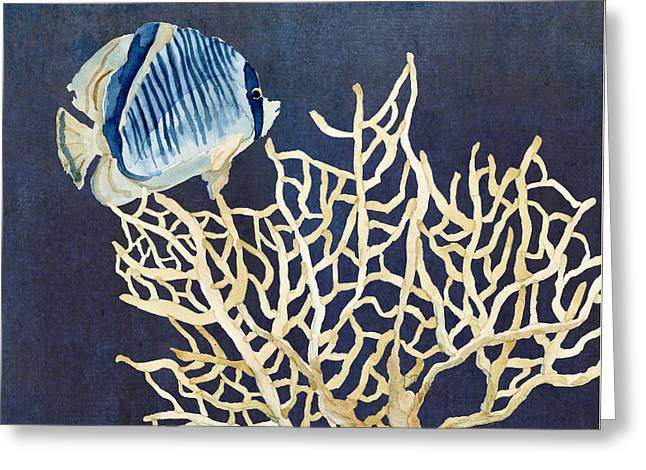 Angel Blues Greeting Cards - Indigo Ocean - Tan Fan Coral n Angelfish Greeting Card by Audrey Jeanne Roberts