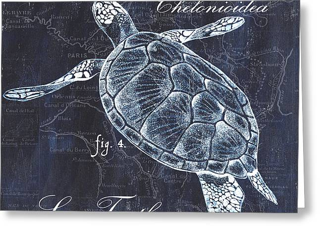 Ocean Turtle Paintings Greeting Cards - Indigo Verde Mar 2 Greeting Card by Debbie DeWitt