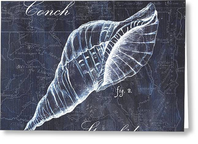 Conch Greeting Cards - Indigo Verde Mar 3 Greeting Card by Debbie DeWitt